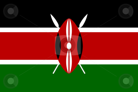 Kenya flag stock photo, Sovereign state flag of country of Kenya in official colors. by Martin Crowdy