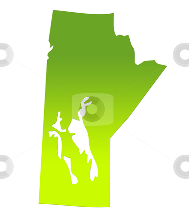 Manitoba map stock photo, Manitoba province of Canada map in gradient green, isolated on white background. by Martin Crowdy