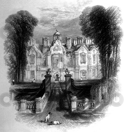 English Manor House stock photo, Exterior of English manor house with long driveway and dogs in foreground and vignette effect. Engraved by William Miller in 1834, public domain image by virtue of age. by Martin Crowdy