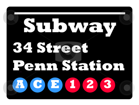 34 street subway sign stock photo, New York 34 street Penn station subway train sign isolated on black background. by Martin Crowdy