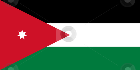 Jordan Flag stock photo, Sovereign state flag of country of Jordan in official colors. by Martin Crowdy