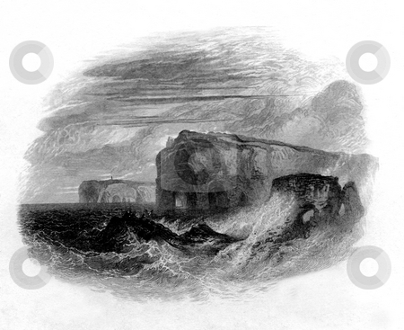 Flamborough Head stock photo, 1867 engraving by William Miller of stormy sea off coast of Flamborough head, North Yorkshire, England. by Martin Crowdy
