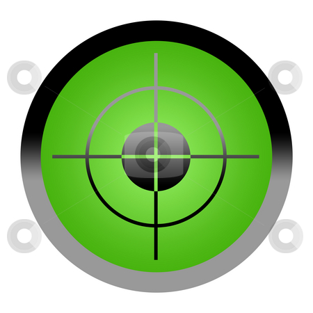 Target Button stock photo, Green target button isolated on white background with copy space. by Martin Crowdy