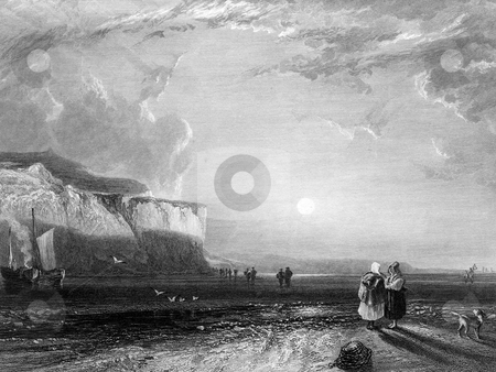 Victorian beach scene stock photo, Engraving of Victorian beach scene, Cornwall, England. Engraved by William Miller in 1831. by Martin Crowdy