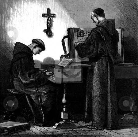 Franciscan monk playing harpsichord stock photo, Engraving of two Franciscan monks, one playing harpischord, Published by George C. Leighton in Illustrated London News Volume 56, 1870. Public domain image by virture of age. by Martin Crowdy