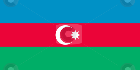 Azerbaijan Flag stock photo, Sovereign state flag of country of Azerbaijan in official colors. by Martin Crowdy
