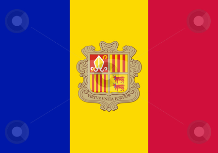 Andorra Flag stock photo, Sovereign state flag of country of Andorra in official colors. by Martin Crowdy