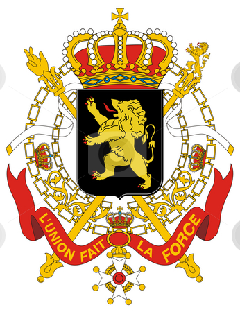 Belgium Coat of Arms stock photo, Belgium coat of arms, seal or national emblem, isolated on white background. by Martin Crowdy
