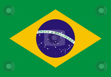 Brazil flag stock photo, Sovereign state flag of country of Brazil in official colors. by Martin Crowdy