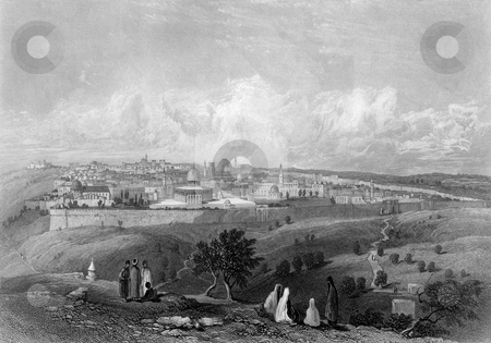 Jerusalem stock photo, City of Jerusalem viewed from top of Mount of Olives in biblical times, Engraved, by William Miller in 1866 afterr after H Warren from a sketch by A Campbell published in The Imperial Bible. Public domain image by virtue of age. by Martin Crowdy