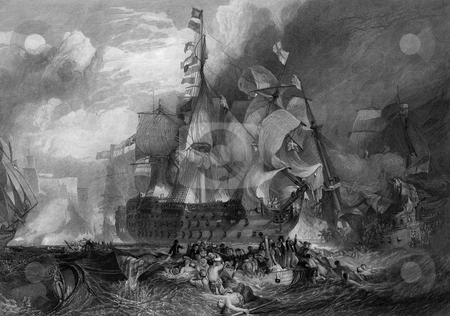 Battle of Trafalgar stock photo, Black and white engraving of the Battle of Trafalgar. Engraving by William Miller after J M W Turner in 1875. Public domain image by virtue of age. by Martin Crowdy