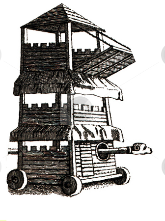 Medieval seige tower or engine stock photo, Medieval seige tower or engine with bridge and battering Ram. Engraving published in book by Francis Grose,