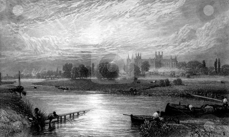 Peterborough Cathedral and Rive Nene stock photo, Engraving of Peterborough Cathedral viewed over River Nene, Cambridgeshire, England. Created in 1868 by William Miller, unpublished. by Martin Crowdy