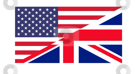American and British flag stock photo, American and British flags joined together, isolated on white background. by Martin Crowdy