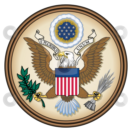 United States Great Seal stock photo, United States Great Seal, coat of arms or national emblem, isolated on white background. Pictured here in Obverse side. by Martin Crowdy