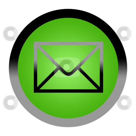 Mail button stock photo, Green mail button isolated on white background with copy space. by Martin Crowdy