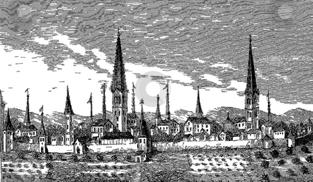 Dortmund stock photo, View of Dortmund published in the Sixteenth Century From an Engraving on Copper in P. Bertius's book,