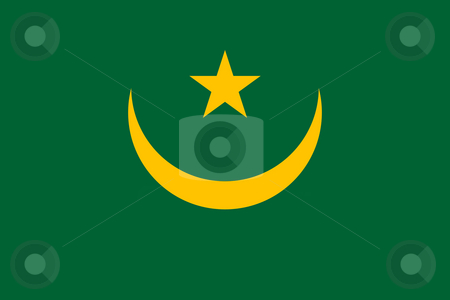 Mauritania Flag stock photo, Sovereign state flag of country of Mauritania in official colors. by Martin Crowdy