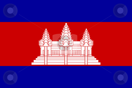 Cambodia Flag stock photo, Sovereign state flag of country of Cambodia in official colors. by Martin Crowdy