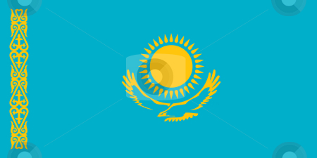 Kazakhstan flag stock photo, Sovereign state flag of country of Kazakhstan in official colors. by Martin Crowdy