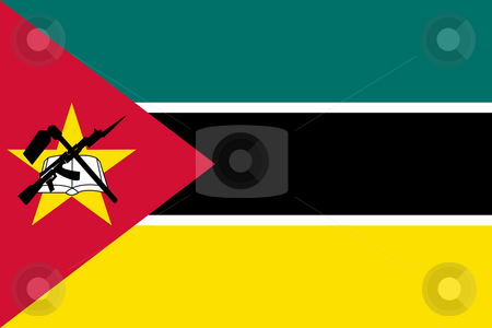 Mozambique stock photo, Sovereign state flag of country of Mozambique in official colors. by Martin Crowdy