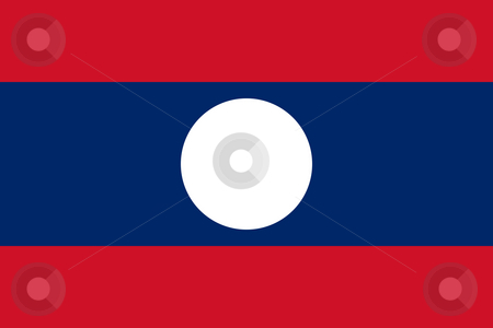 Laos Flag stock photo, Sovereign state flag of country of Laos in official colors. by Martin Crowdy