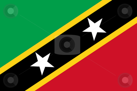 Saint Kitts and Nevis stock photo, Sovereign state flag of country of Saint Kitts and Nevis in official colors. round by Martin Crowdy
