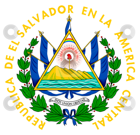 El Salvador coat of arms stock photo, El Salvador coat of arms, seal or national emblem, isolated on white background. by Martin Crowdy