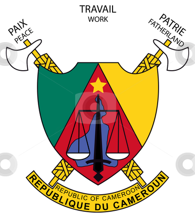 Cameroon Coat of Arms stock photo, Cameroon coat of arms, seal or national emblem, isolated on white background. by Martin Crowdy