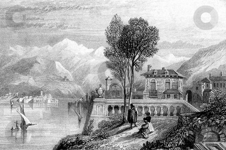 Lake Geneva and Alps stock photo, Engraving on Lake Geneva with Alps in background. By William Miller after D McKenzie, published in Beauties of Modern Poetry, 1840. Public domain image by virtue of age. by Martin Crowdy