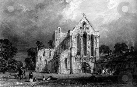 LLanercost Priory stock photo, Scenic view of Llanercost Priory, Cumberland, England. Engraved by William Miller in 1832, public domain image by virtue of age. by Martin Crowdy