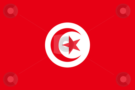 Tunisia Flag stock photo, Sovereign state flag of country of Tunisia in official colors. by Martin Crowdy