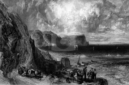 Clovelly Bay stock photo, Engraving on Clovelly Bay, Devon, England. Engraved by William Miller after J M W Turner, published in Picturesque Views on the Southern Coast of England in 1826. Public domain image by virtue of age. by Martin Crowdy