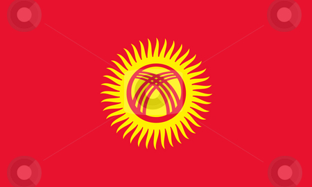Kyrgyzstan flag stock photo, Sovereign state flag of country of Kyrgysztan in official colors. by Martin Crowdy