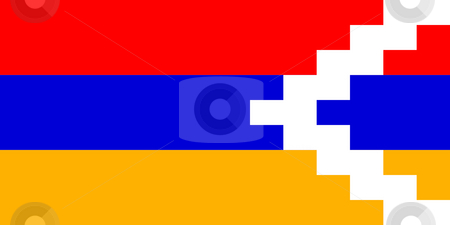 Nagorno-Karabakh flag stock photo, Sovereign state flag of country of Nagorno-Karabakh in official colors. by Martin Crowdy