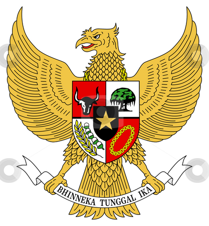 Indonesia Coat Arms stock photo, Indonesia coat of arms, seal or national emblem, isolated on white background. by Martin Crowdy