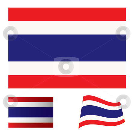 Thailand flag set stock vector clipart, Illustrated collection of flag icon set for thailand by Michael Travers