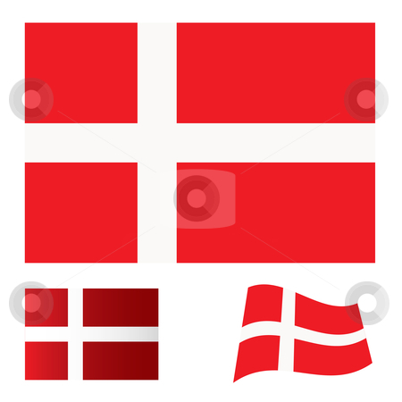 Denmark flag set stock vector clipart, Illustrated collection of flag icon set for denmark by Michael Travers