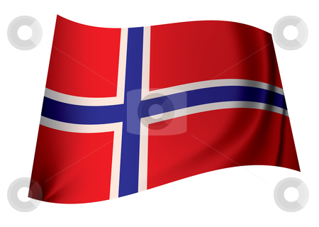 Norway flag stock vector clipart, Flag of norway ideal norwegian icon in red white and blue flying in the wind by Michael Travers