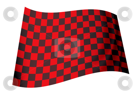 Red checkered flag stock vector clipart, Racing inspired red and black checkered flag concept icon by Michael Travers