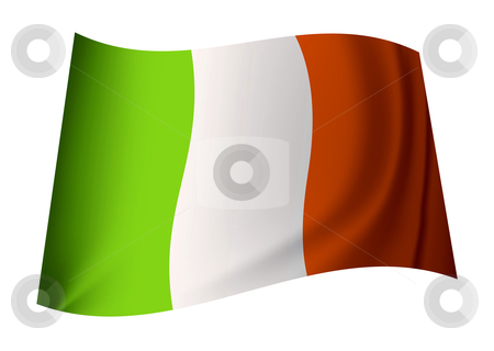 Ireland flag stock vector clipart, Irish flag concept with ireland icon flapping in the wind by Michael Travers