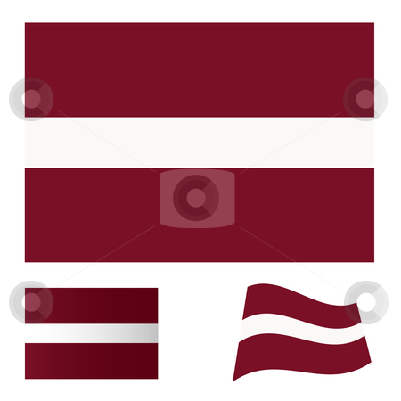 Latvia flag set stock vector clipart, Illustrated collection of flag icon set for Latvia by Michael Travers