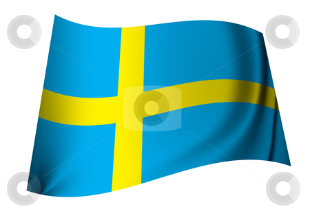 Sweden flag stock vector clipart, Single swedish flag icon in blue and yellow ideal sweden concept by Michael Travers