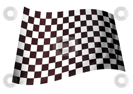 Original checkered flag stock vector clipart, Black and white motor racing checkered flag concept icon by Michael Travers