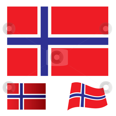 Norway flag set stock vector clipart, Flag; icon; banner; nation; bars; patriotic; symbol; waving; flap; illustration; concept by Michael Travers