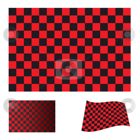 Checkered red flag stock vector clipart, Red and black checkered flag icon collection with variation by Michael Travers