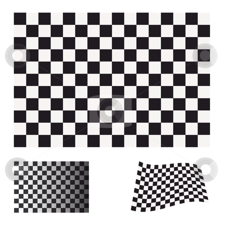 Checkered flag set stock vector clipart, Black and white checkered flag concept ideal icon or symbol by Michael Travers