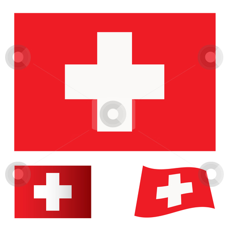 Switzerland flag set stock vector clipart, Red flag background with white cross swiss icon by Michael Travers