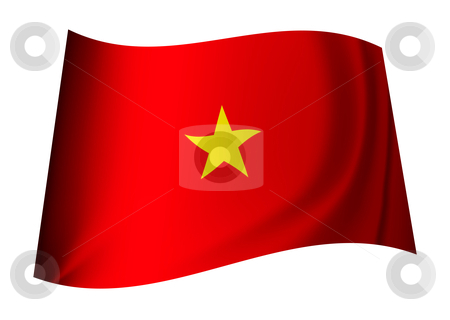 Vietnam flag stock vector clipart, Vietnam flag concept with red background and yellow star by Michael Travers