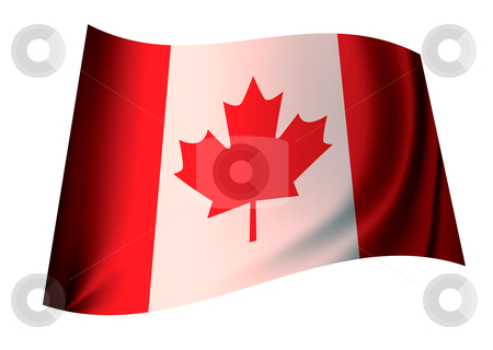 Canada flag stock vector clipart, Canadian red and white flag icon with maple leaf for canada by Michael Travers